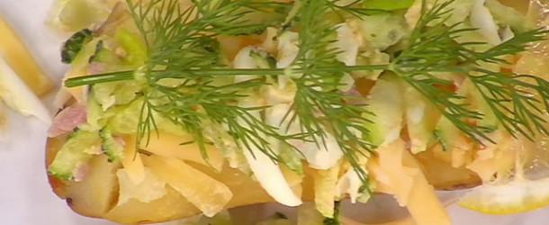 Картошка с ветчиной и огурцом